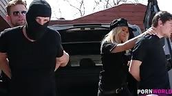 HandsOnHardcore - Slutty Policewoman Cherry Kiss Has Three Holes Stuffed At Crime Scene