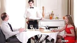 HandsOnHardcore - Husband And Waiter DP Horny Wife Kinuski In 5 Star Restaurant